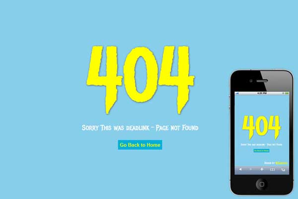 404 error page on mobile phone